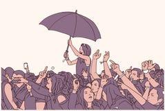 Απεικόνιση μικτό εθνικό πλήθους φεστιβάλ στη βροχή Στοκ Εικόνα