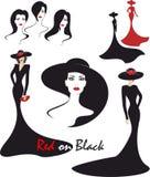 Απεικόνιση μόδας μαύρος και κόκκινος Στοκ εικόνες με δικαίωμα ελεύθερης χρήσης