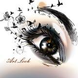 Απεικόνιση μόδας με συρμένη τη χέρι θηλυκή όμορφη τέχνη ματιών Στοκ φωτογραφίες με δικαίωμα ελεύθερης χρήσης