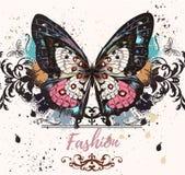 Απεικόνιση μόδας με την πεταλούδα colofrul Στοκ Φωτογραφία