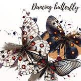 Απεικόνιση μόδας πεταλούδων με τις πεταλούδες Στοκ Εικόνες