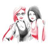 Απεικόνιση μόδας Watercolor με το αγκάλιασμα των κοριτσιών Στοκ Εικόνες