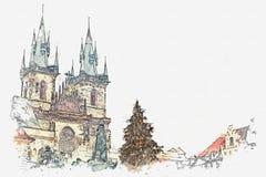 απεικόνιση Οι διακοσμημένες στάσεις χριστουγεννιάτικων δέντρων στο κύριο τετράγωνο στην Πράγα δίπλα σε το είναι ένας όμορφος παλα Ελεύθερη απεικόνιση δικαιώματος