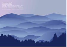 Απεικόνιση ορειβασίας και ταξιδιού διανυσματική Τοπίο με τις αιχμές βουνών Ακραίος αθλητισμός, διακοπές και υπαίθρια αναψυχή Γ στοκ εικόνες