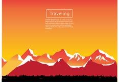 Απεικόνιση ορειβασίας και ταξιδιού διανυσματική Τοπίο με τις αιχμές βουνών Ακραίος αθλητισμός, διακοπές και υπαίθρια αναψυχή Γ στοκ φωτογραφία με δικαίωμα ελεύθερης χρήσης