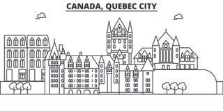 Απεικόνιση οριζόντων γραμμών αρχιτεκτονικής πόλεων του Καναδά, Κεμπέκ Γραμμική διανυσματική εικονική παράσταση πόλης με τα διάσημ Στοκ Εικόνες