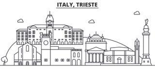 Απεικόνιση οριζόντων γραμμών αρχιτεκτονικής της Ιταλίας, Τεργέστη Γραμμική διανυσματική εικονική παράσταση πόλης με τα διάσημα ορ Στοκ Εικόνες