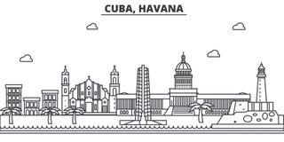 Απεικόνιση οριζόντων γραμμών αρχιτεκτονικής της Κούβας, Αβάνα Γραμμική διανυσματική εικονική παράσταση πόλης με τα διάσημα ορόσημ ελεύθερη απεικόνιση δικαιώματος