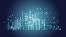 Απεικόνιση οριζόντων γραμμών αρχιτεκτονικής της Σαγκάη Γραμμική διανυσματική εικονική παράσταση πόλης με τα διάσημα ορόσημα Στοκ Εικόνες