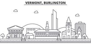 Απεικόνιση οριζόντων γραμμών αρχιτεκτονικής του Βερμόντ, Μπέρλινγκτον Γραμμική διανυσματική εικονική παράσταση πόλης με τα διάσημ απεικόνιση αποθεμάτων