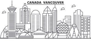 Απεικόνιση οριζόντων γραμμών αρχιτεκτονικής του Καναδά, Βανκούβερ Γραμμική διανυσματική εικονική παράσταση πόλης με τα διάσημα ορ Στοκ Φωτογραφίες
