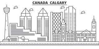 Απεικόνιση οριζόντων γραμμών αρχιτεκτονικής του Καναδά, Κάλγκαρι Γραμμική διανυσματική εικονική παράσταση πόλης με τα διάσημα ορό Στοκ Εικόνες