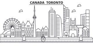 Απεικόνιση οριζόντων γραμμών αρχιτεκτονικής του Καναδά, Τορόντο Γραμμική διανυσματική εικονική παράσταση πόλης με τα διάσημα ορόσ ελεύθερη απεικόνιση δικαιώματος