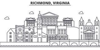 Απεικόνιση οριζόντων γραμμών αρχιτεκτονικής του Ρίτσμοντ, Βιρτζίνια Γραμμική διανυσματική εικονική παράσταση πόλης με τα διάσημα  Στοκ εικόνες με δικαίωμα ελεύθερης χρήσης