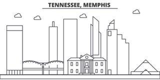 Απεικόνιση οριζόντων γραμμών αρχιτεκτονικής του Τένεσι, Μέμφιδα Γραμμική διανυσματική εικονική παράσταση πόλης με τα διάσημα ορόσ ελεύθερη απεικόνιση δικαιώματος