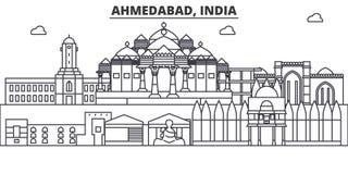 Απεικόνιση οριζόντων γραμμών αρχιτεκτονικής του Ahmedabad, Ινδία Γραμμική διανυσματική εικονική παράσταση πόλης με τα διάσημα ορό Στοκ Φωτογραφίες
