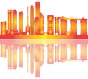 Απεικόνιση οριζόντων πόλεων της Σιγκαπούρης με το ξενοδοχείο ελεύθερη απεικόνιση δικαιώματος