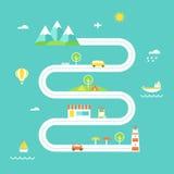 Απεικόνιση οδικών χαρτών Έννοια ταξιδιού και αναψυχής Επίπεδο σχέδιο Στοκ Εικόνες