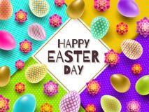 Απεικόνιση Πάσχας με το χαιρετισμό και τα πολύχρωμα χρωματισμένα αυγά Πάσχας και τα λουλούδια Στοκ φωτογραφίες με δικαίωμα ελεύθερης χρήσης
