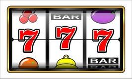 Απεικόνιση 777 παιχνιδιού Μηχάνημα τυχερών παιχνιδιών με κέρματα διανυσματική απεικόνιση