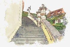 απεικόνιση Παραδοσιακή αρχαία αρχιτεκτονική στην Πράγα διανυσματική απεικόνιση