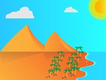 Απεικόνιση παραλιών με τα βουνά, τους φοίνικες κ.λπ. Στοκ εικόνα με δικαίωμα ελεύθερης χρήσης
