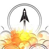 Απεικόνιση περιγράμματος ενός επερχόμενου πυραύλου με το ράντισμα καπνού και watercolor ελεύθερη απεικόνιση δικαιώματος