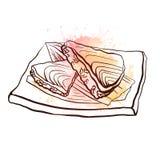 Απεικόνιση περιγράμματος ιαπωνικών τροφίμων με το ρύζι και του σολομού στο πιάτο με τους ρόδινους παφλασμούς watercolor επίσης co ελεύθερη απεικόνιση δικαιώματος