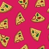 Απεικόνιση πιτσών, άνευ ραφής σχέδιο διανυσματική απεικόνιση