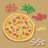Απεικόνιση πιτσών στοκ εικόνα με δικαίωμα ελεύθερης χρήσης