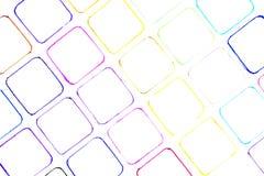 Απεικόνιση πολλών μικρή συρμένη χέρι πολύχρωμη τετραγώνων με το ST στοκ εικόνες