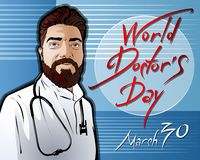 Απεικόνιση που αφιερώνεται στην ημέρα παγκόσμιων γιατρών ελεύθερη απεικόνιση δικαιώματος