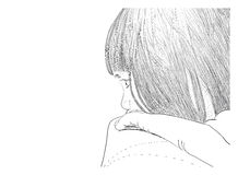 Απεικόνιση που επισύρει την προσοχή ένα μικρό κορίτσι στον καναπέ Στοκ Φωτογραφίες