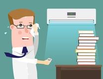 Απεικόνιση που χαρακτηρίζει έναν επιχειρηματία που ιδρώνει αφειδώς στο γραφείο του Ο κλιματισμός σώζει στη θερμότητα Στοκ Εικόνα