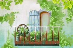 Απεικόνιση: Πράσινος τοίχος έξω από το μπαλκόνι ελεύθερη απεικόνιση δικαιώματος