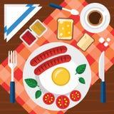 Απεικόνιση προγευμάτων με τα φρέσκα τρόφιμα σε ένα επίπεδο σχέδιο Στοκ εικόνες με δικαίωμα ελεύθερης χρήσης