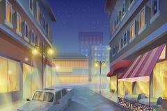 Απεικόνιση πόλεων νύχτας Στοκ Εικόνες