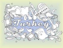 Απεικόνιση ράστερ σχεδίου τέχνης γραμμών της Τουρκίας Στοκ Εικόνες