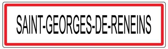 Απεικόνιση σημαδιών κυκλοφορίας πόλεων Αγίου Georges de Reneins σε φράγκο Στοκ φωτογραφίες με δικαίωμα ελεύθερης χρήσης