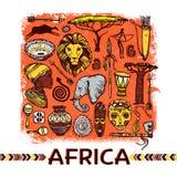 Απεικόνιση σκίτσων της Αφρικής Στοκ Εικόνες