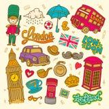 Απεικόνιση σκίτσων του Λονδίνου, σύνολο συρμένων χέρι διανυσματικών στοιχείων της Αγγλίας doodle, συλλογή συμβόλων του Λονδίνου στοκ εικόνα με δικαίωμα ελεύθερης χρήσης