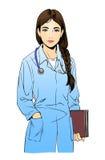 Απεικόνιση σκίτσων του νέου γιατρού γυναικών ή ενός nusce Στοκ εικόνα με δικαίωμα ελεύθερης χρήσης
