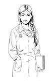 Απεικόνιση σκίτσων του νέου γιατρού γυναικών ή μιας νοσοκόμας Στοκ φωτογραφία με δικαίωμα ελεύθερης χρήσης