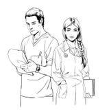Απεικόνιση σκίτσων των νέων γιατρών, του άνδρα και της γυναίκας Στοκ εικόνα με δικαίωμα ελεύθερης χρήσης