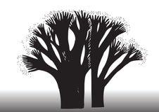 Απεικόνιση σκιαγραφιών δέντρων Στοκ φωτογραφία με δικαίωμα ελεύθερης χρήσης