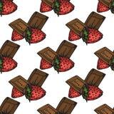 απεικόνιση Σοκολάτες με τις φράουλες Για σας ευτυχείς διακοπές πρότυπο άνευ ραφής απεικόνιση αποθεμάτων