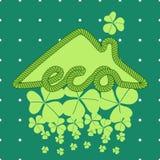 Απεικόνιση σπιτιών Eco με το τριφύλλι Στοκ Εικόνα