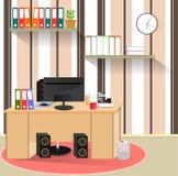 Απεικόνιση στο θέμα του υπολογιστή εργασιακών χώρων απεικόνιση αποθεμάτων