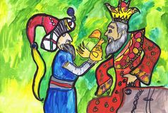 """Απεικόνιση στο παραμύθι από το Α S Pushkin """"η ιστορία χρυσό Cockerel """" Σχέδιο παιδιών διανυσματική απεικόνιση"""