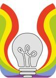 Απεικόνιση στο ύφος ενός υλικού σχεδίου με ένα ουράνιο τόξο Στοκ Εικόνες